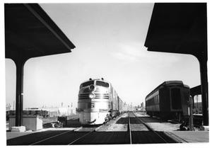 "Primary view of object titled '[""Sam Houston Zephyr""  arriving in Fort Worth]'."