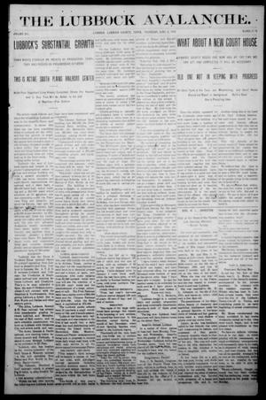 Primary view of object titled 'The Lubbock Avalanche. (Lubbock, Texas), Vol. 12, No. 48, Ed. 1 Thursday, June 6, 1912'.