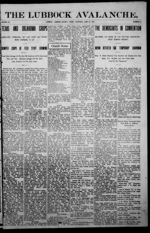 Primary view of object titled 'The Lubbock Avalanche. (Lubbock, Texas), Vol. 12, No. 51, Ed. 1 Thursday, June 27, 1912'.