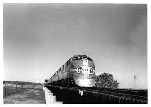 Primary view of object titled '[Santa Fe train crossing the Trinity River Bridge]'.