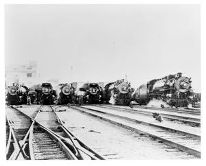 Primary view of object titled '[Six Texas & Pacific Trains head to the 1936 Rose Bowl]'.