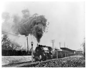 "Primary view of object titled '[""Texas Special"" arriving at Highland Park Station]'."