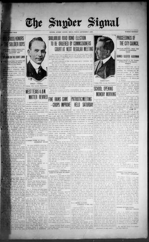 The Snyder Signal. (Snyder, Tex.), Vol. THIRTY-FIRST YEAR, No. THIRTEEN, Ed. 1 Friday, September 7, 1917