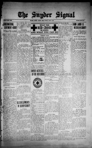 The Snyder Signal. (Snyder, Tex.), Vol. THIRTY-FIRST YEAR, No. FIFTY-TWO, Ed. 1 Friday, June 7, 1918