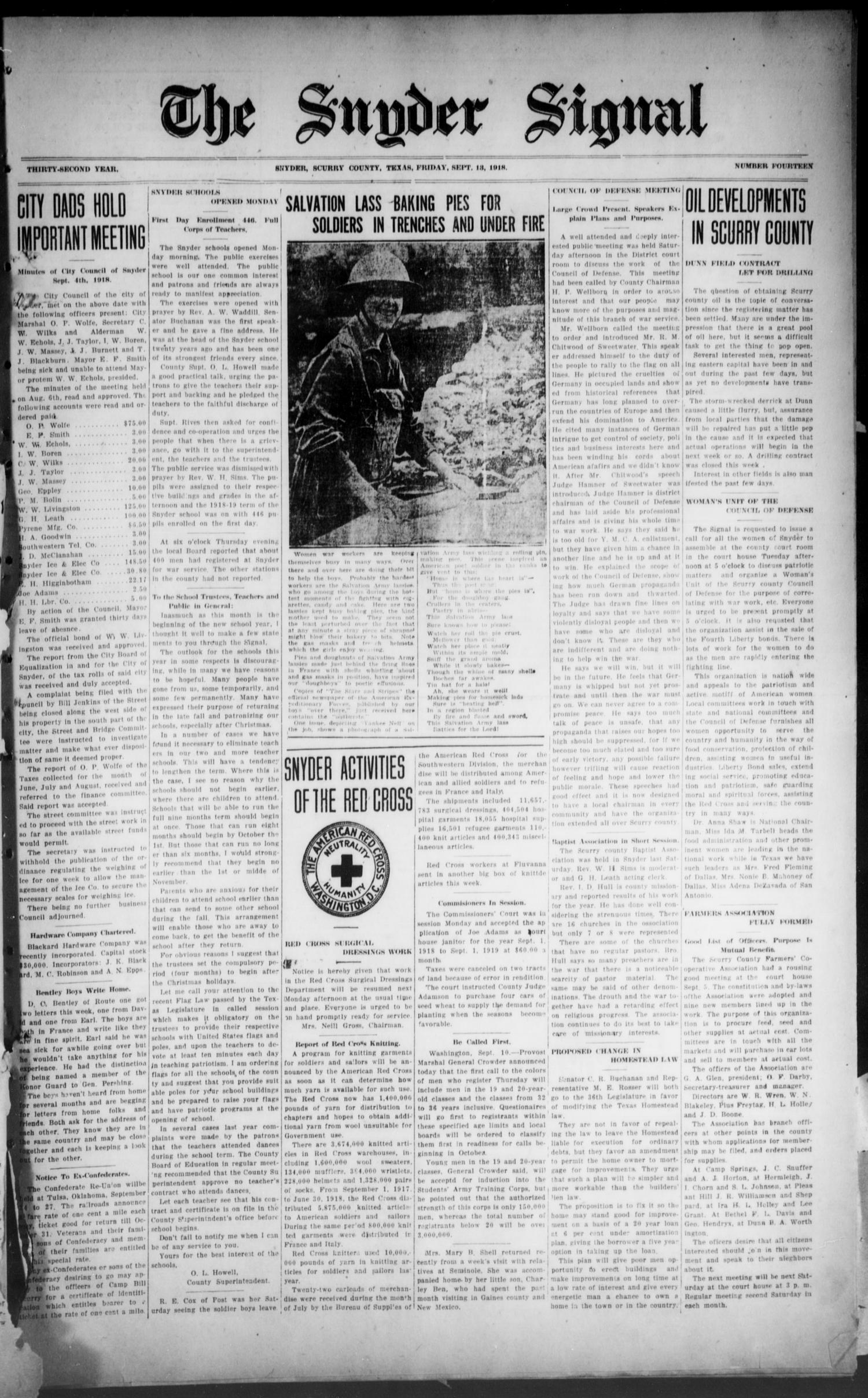 The Snyder Signal. (Snyder, Tex.), Vol. THIRTY-SECOND YEAR, No. FOURTEEN, Ed. 1 Friday, September 13, 1918                                                                                                      [Sequence #]: 1 of 8
