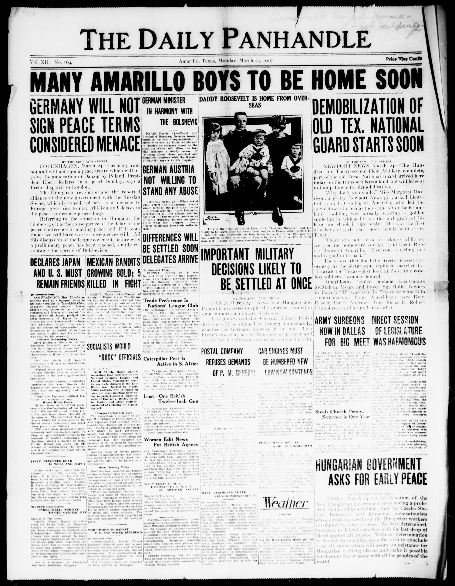 The Daily Panhandle. (Amarillo, Texas), Vol. 12, No. 164, Ed. 1 Monday, March 24, 1919                                                                                                      [Sequence #]: 1 of 4