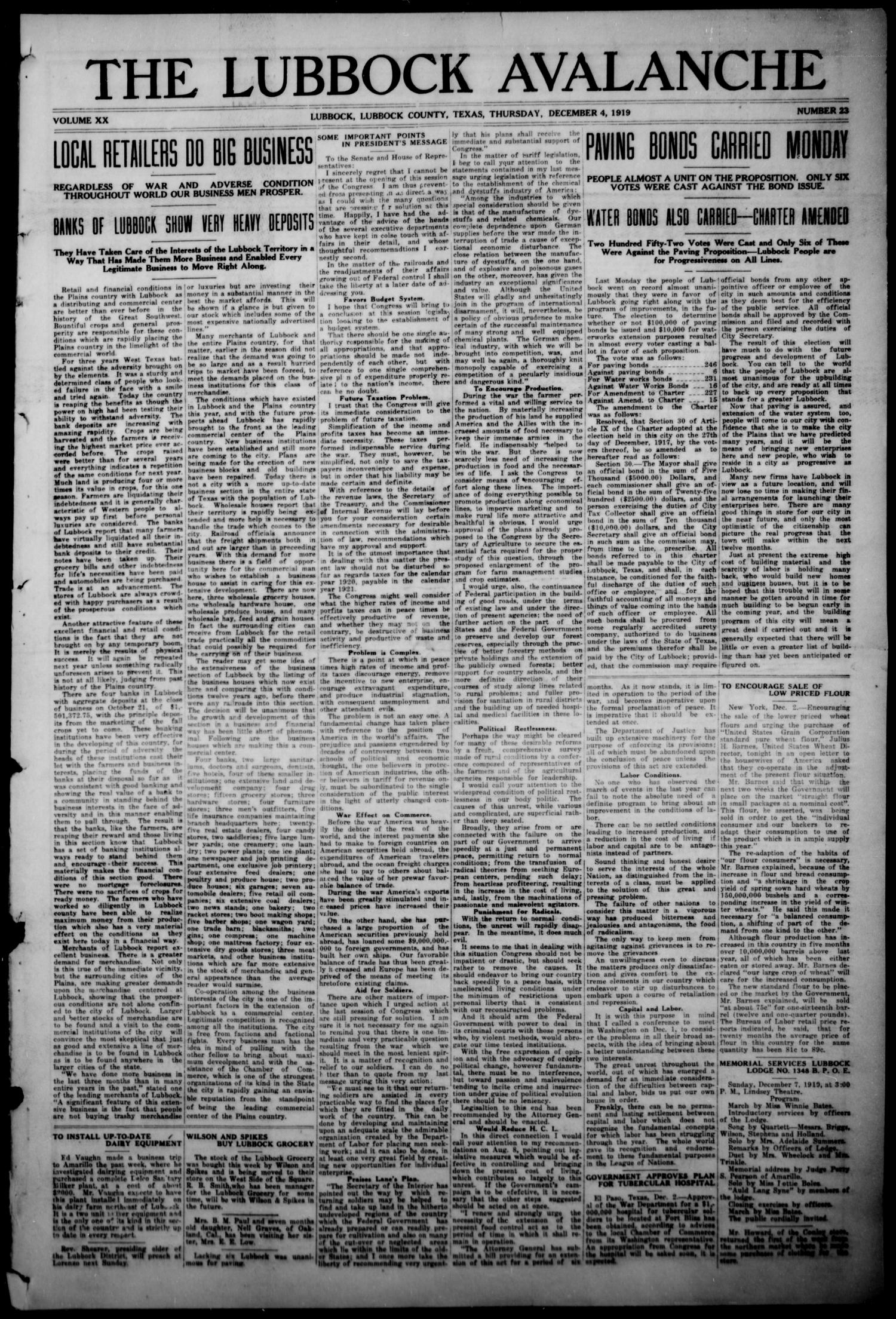 The Lubbock Avalanche. (Lubbock, Texas), Vol. 20, No. 23, Ed. 1 Thursday, December 4, 1919                                                                                                      [Sequence #]: 1 of 24