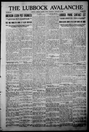 The Lubbock Avalanche. (Lubbock, Texas), Vol. 20, No. 29, Ed. 1 Thursday, January 15, 1920