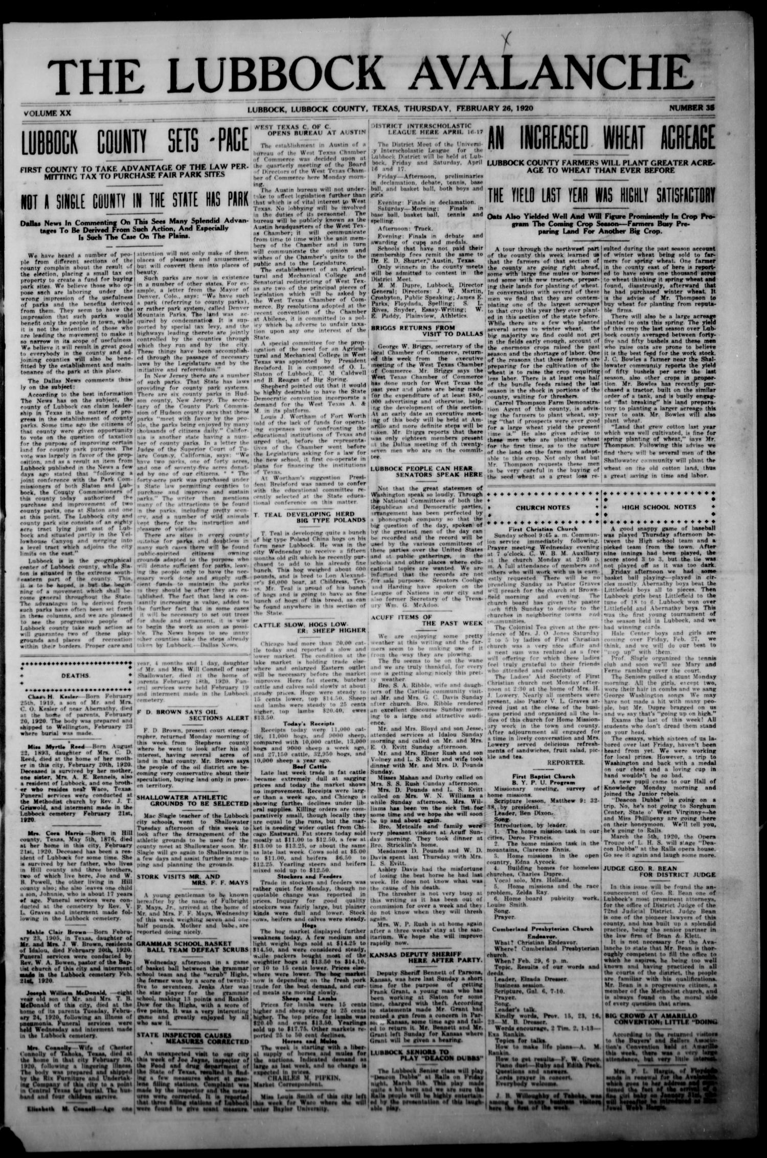 The Lubbock Avalanche. (Lubbock, Texas), Vol. 20, No. 35, Ed. 1 Thursday, February 26, 1920                                                                                                      [Sequence #]: 1 of 20