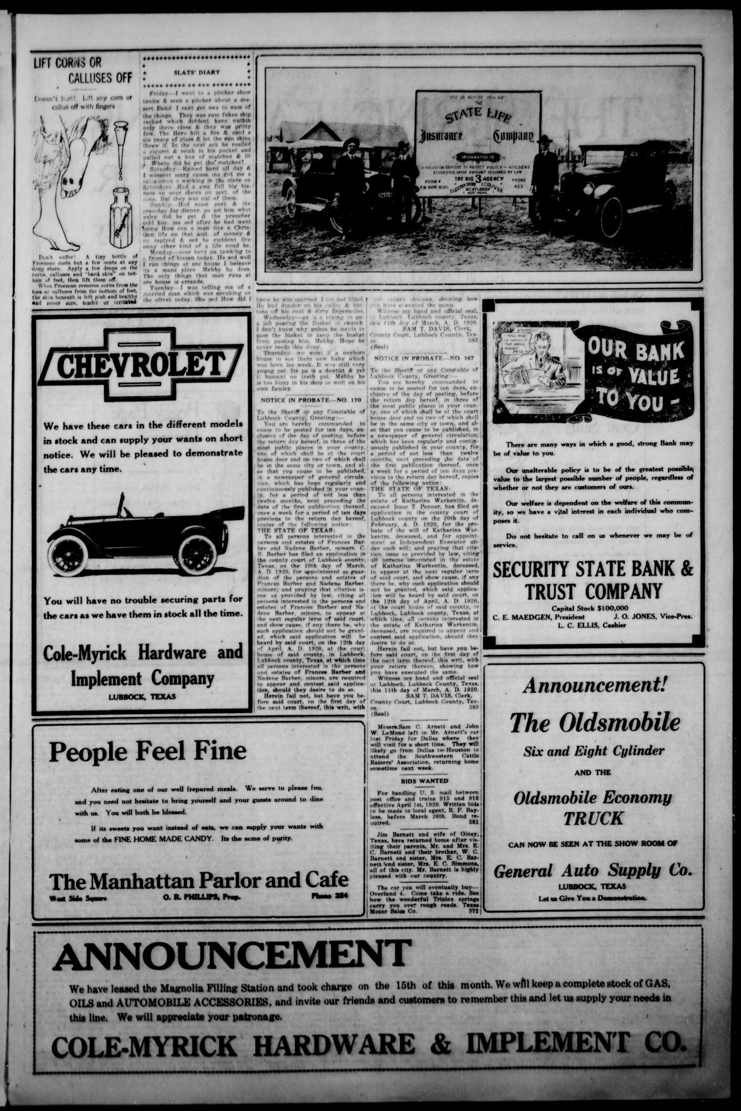 The Lubbock Avalanche  (Lubbock, Texas), Vol  20, No  38, Ed