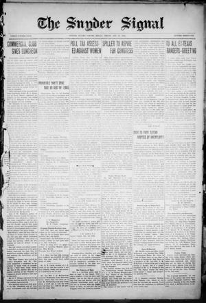 Primary view of object titled 'The Snyder Signal. (Snyder, Tex.), Vol. THIRTY-FOURTH YEAR, No. THIRTY-ONE, Ed. 1 Friday, January 14, 1921'.