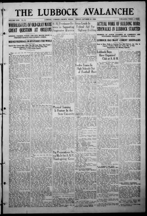 The Lubbock Avalanche. (Lubbock, Texas), Vol. 23, No. 70, Ed. 1 Friday, October 27, 1922