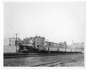Primary view of object titled '[Suburban commuter train leaving Chicago]'.