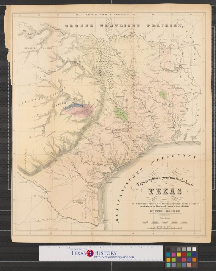 karte texas Topographisch geognostische Karte von Texas : mit Zugrundelegung