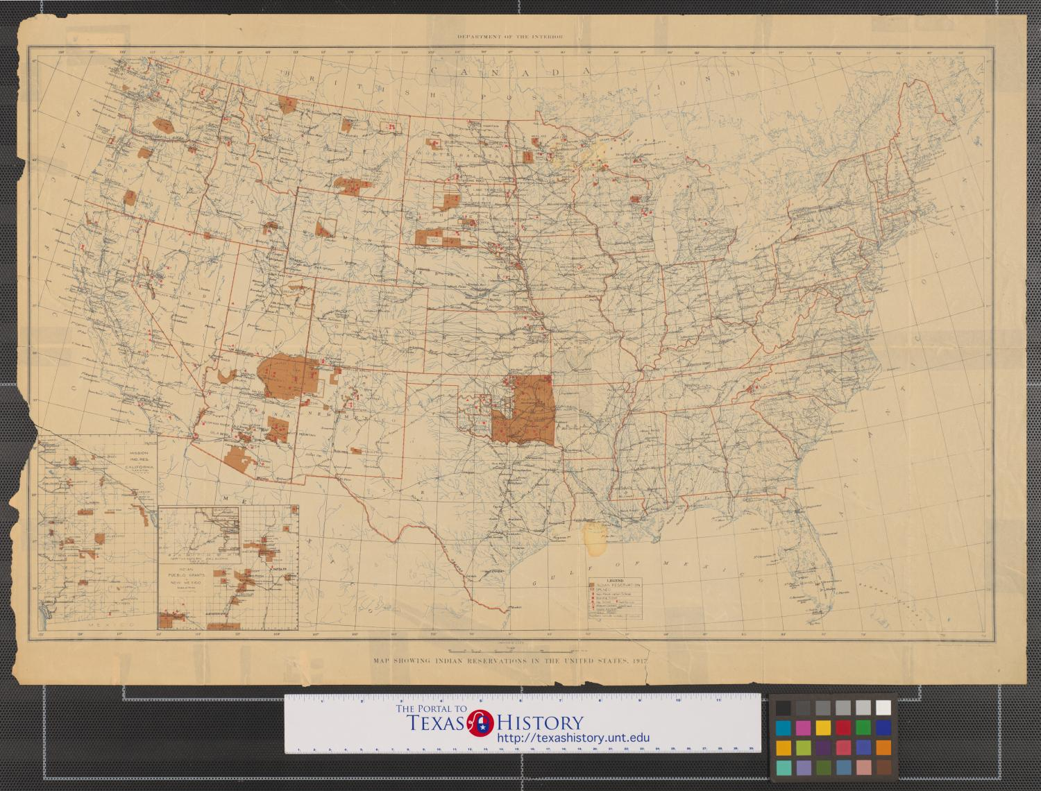 Map showing Indian reservations in the United States, 1917 ...