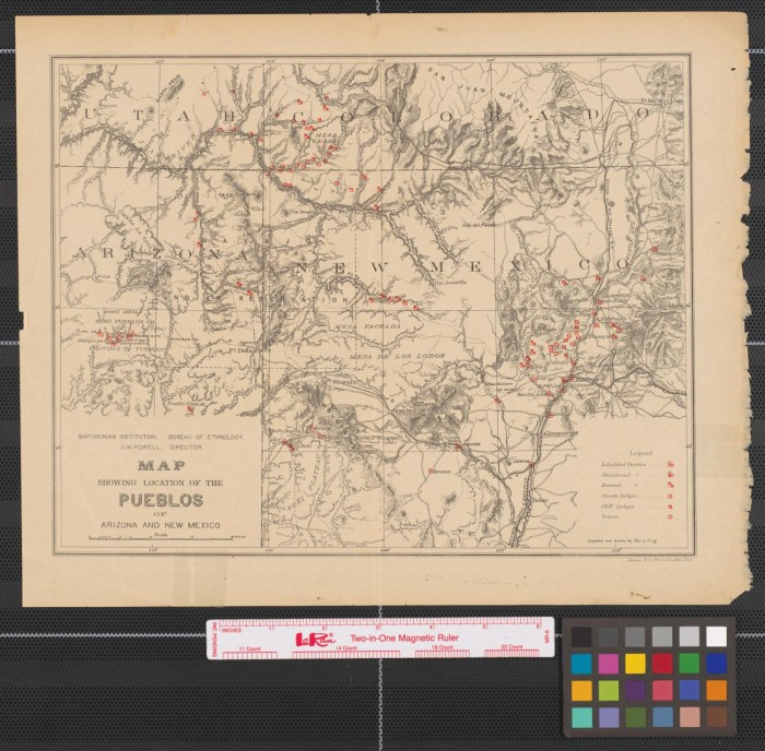 Map showing location of the pueblos of Arizona and New Mexico. - The ...