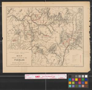 Primary view of object titled 'Map showing location of the pueblos of Arizona and New Mexico.'.