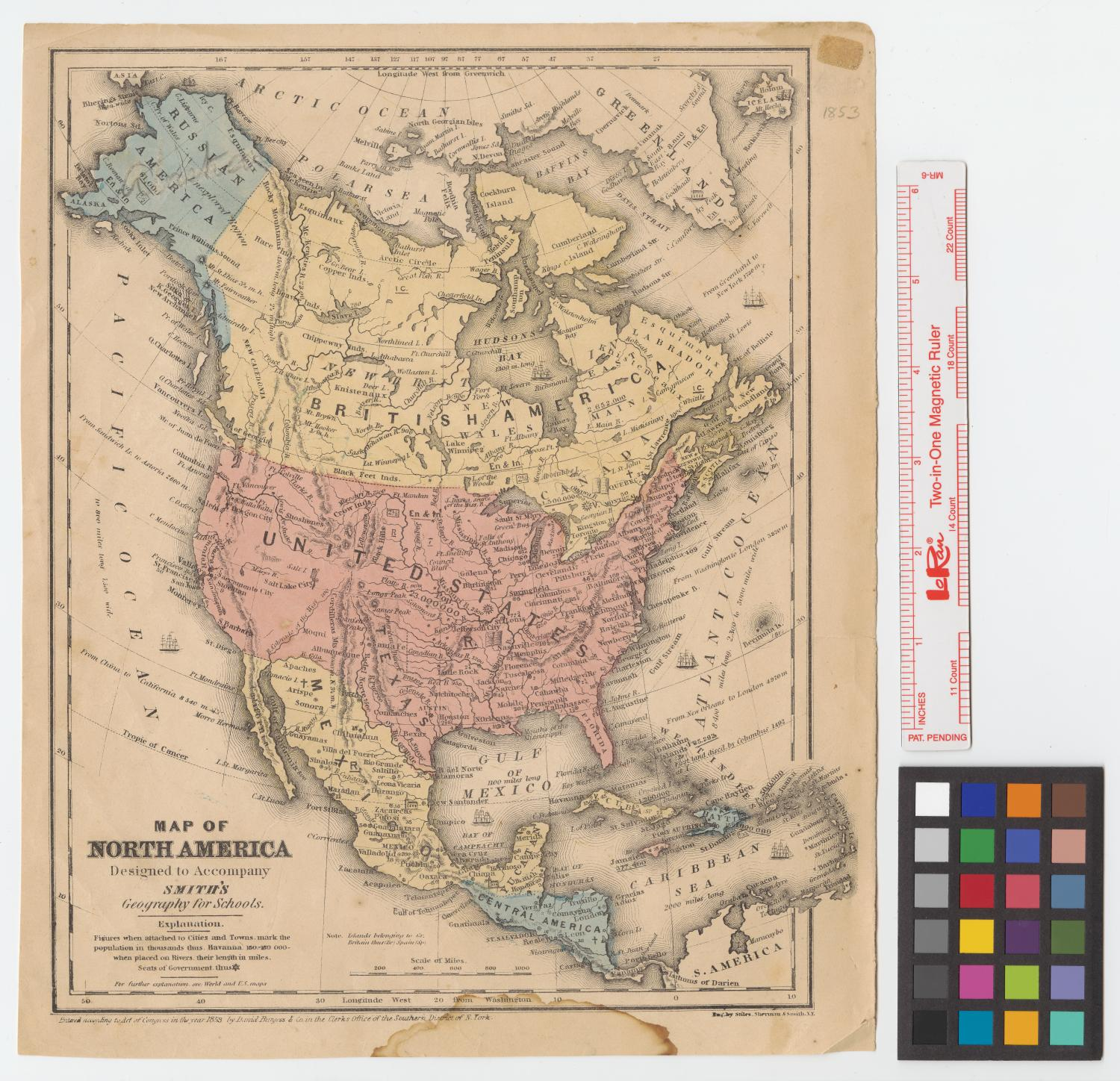 Map of North America : designed to accompany Smith's Geography for schools.                                                                                                      [Sequence #]: 1 of 2