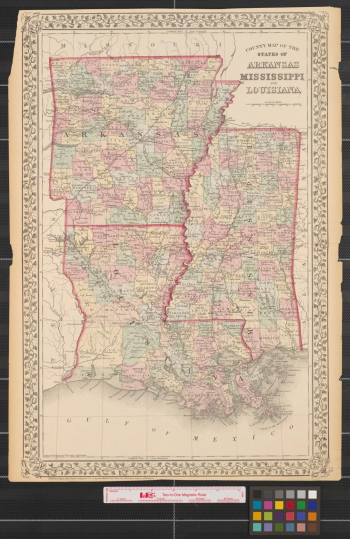 County map of the states of Arkansas Mississippi and Louisiana