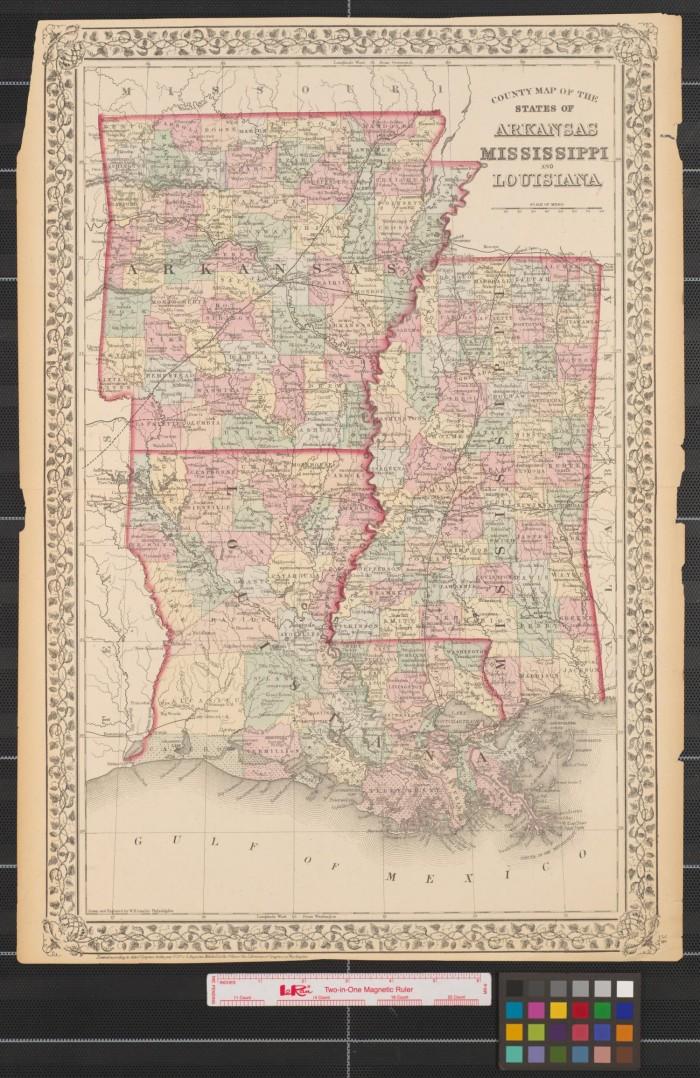 Arkansas And Louisiana Map.County Map Of The States Of Arkansas Mississippi And Louisiana