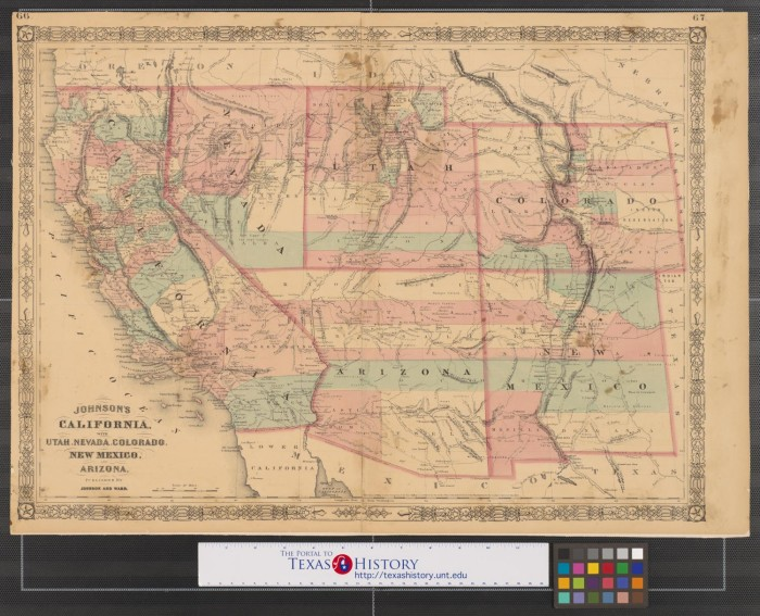 Map Of Texas New Mexico And Colorado.Johnson S California With Utah Nevada Colorado New Mexico And