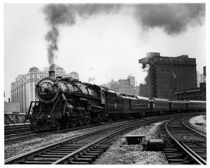Primary view of object titled '[Pacific steam engine leaving the Chicago station]'.
