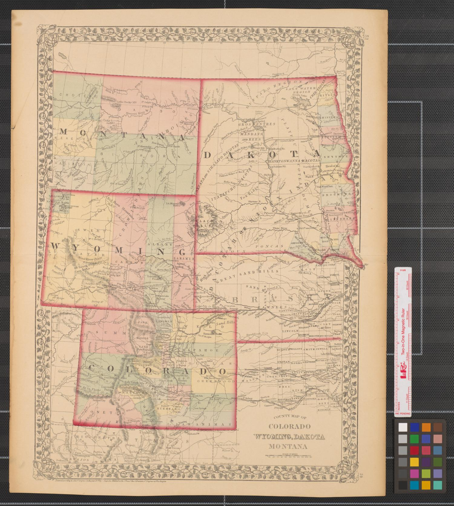 Picture of: County Map Of Colorado Wyoming Dakota Montana The Portal To Texas History