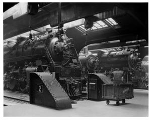 Primary view of object titled '[Steam engines retired at Chicago Passenger Station]'.