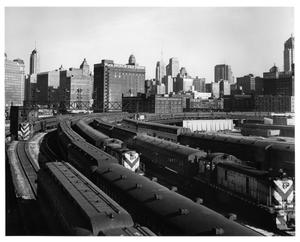Primary view of object titled '[Suburban-bound trains at Chicago Station]'.