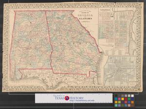 Primary view of object titled 'County map of the states of Georgia and Alabama.'.