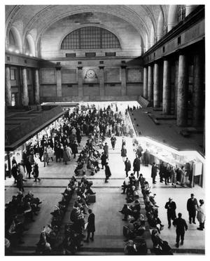 Primary view of object titled '[Interior of Chicago and North Western Railway station]'.