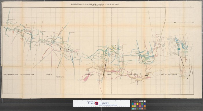 Horizontal map of Gold Hill Mines workings: Comstock Lode