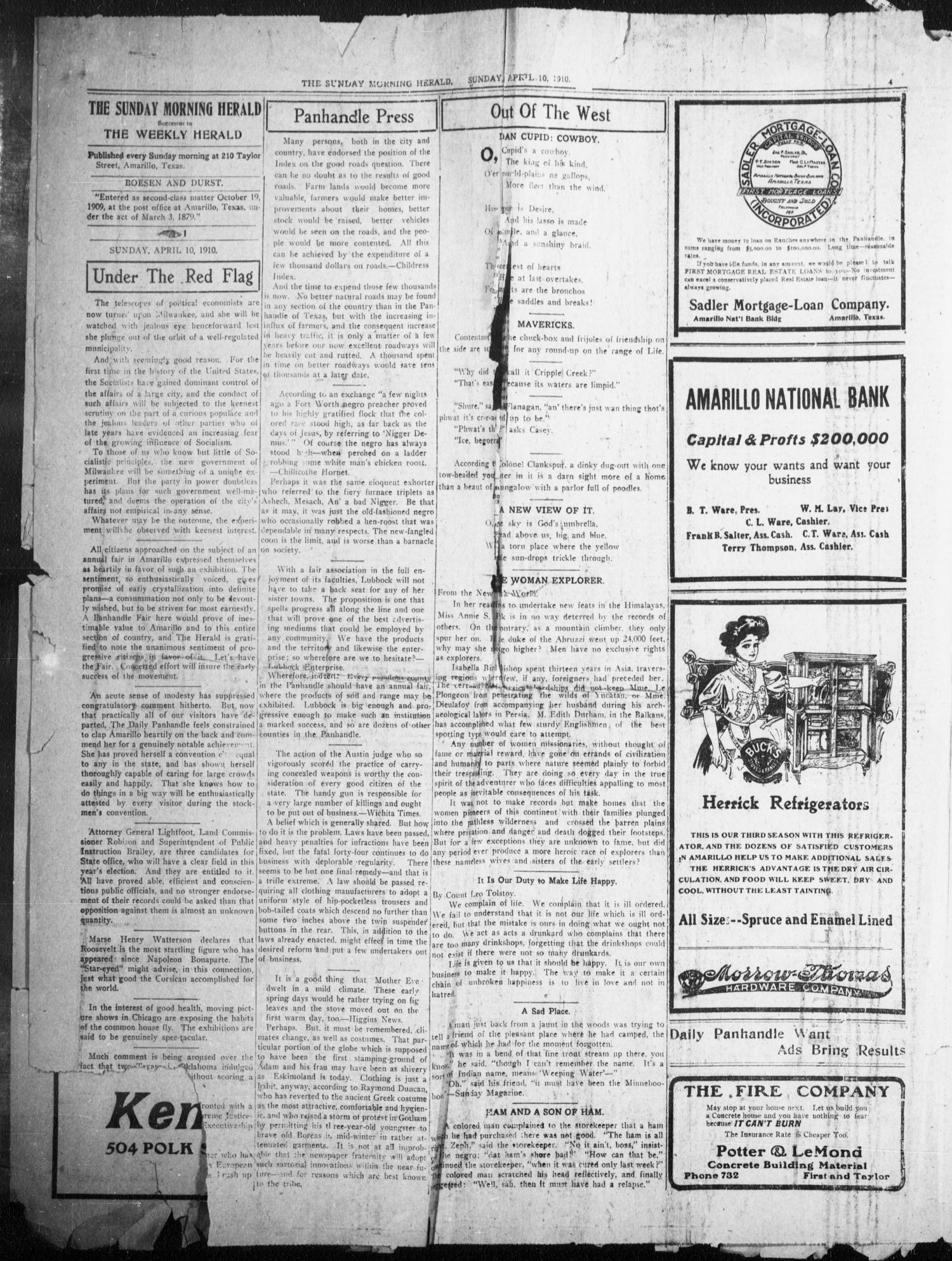 The Sunday Morning Herald. (Amarillo, Tex.), Vol. 22, No. 11, Ed. 1 Sunday, April 10, 1910                                                                                                      [Sequence #]: 4 of 12