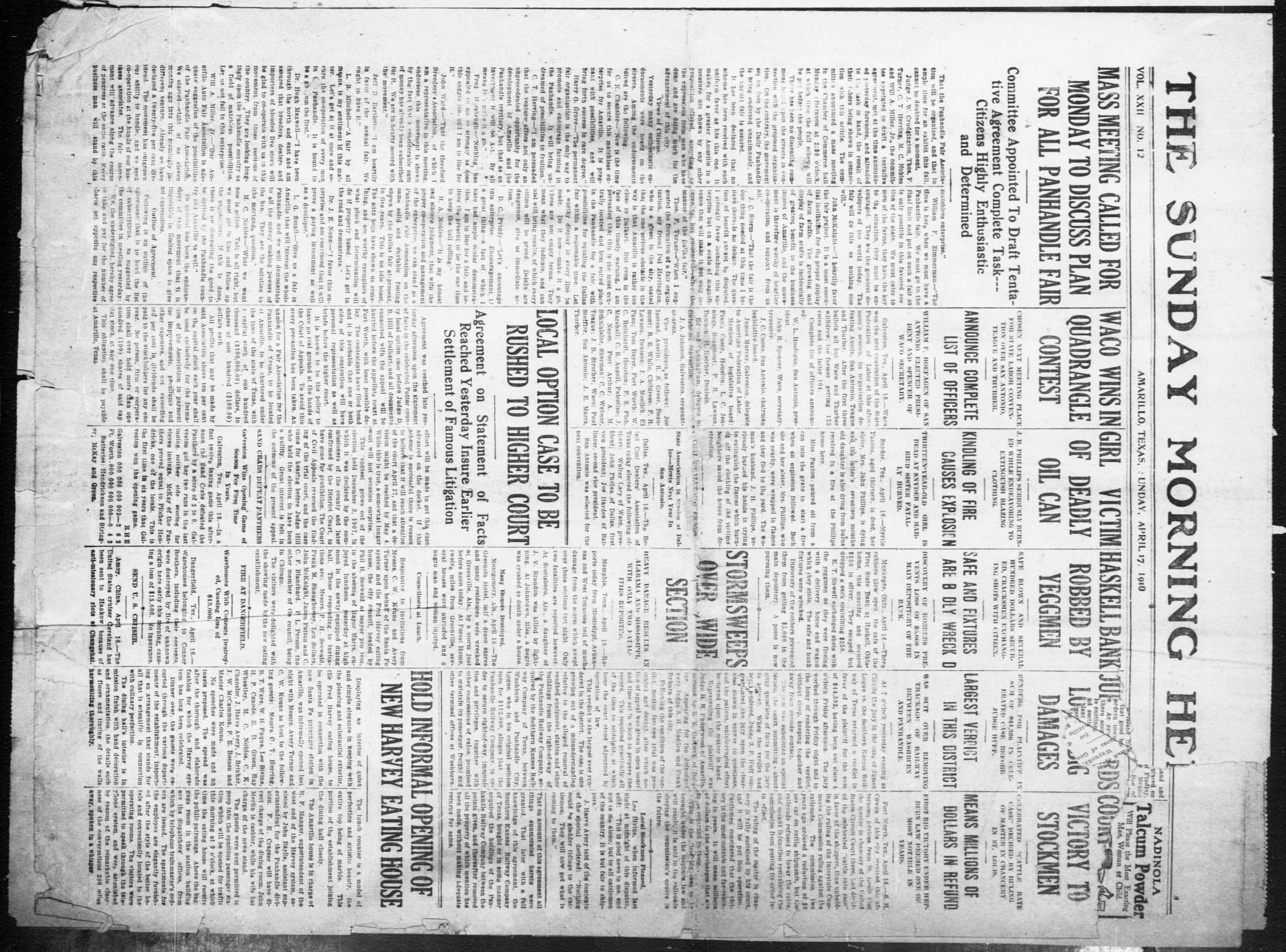 The Sunday Morning Herald. (Amarillo, Tex.), Vol. 22, No. 12, Ed. 1 Sunday, April 17, 1910                                                                                                      [Sequence #]: 1 of 12