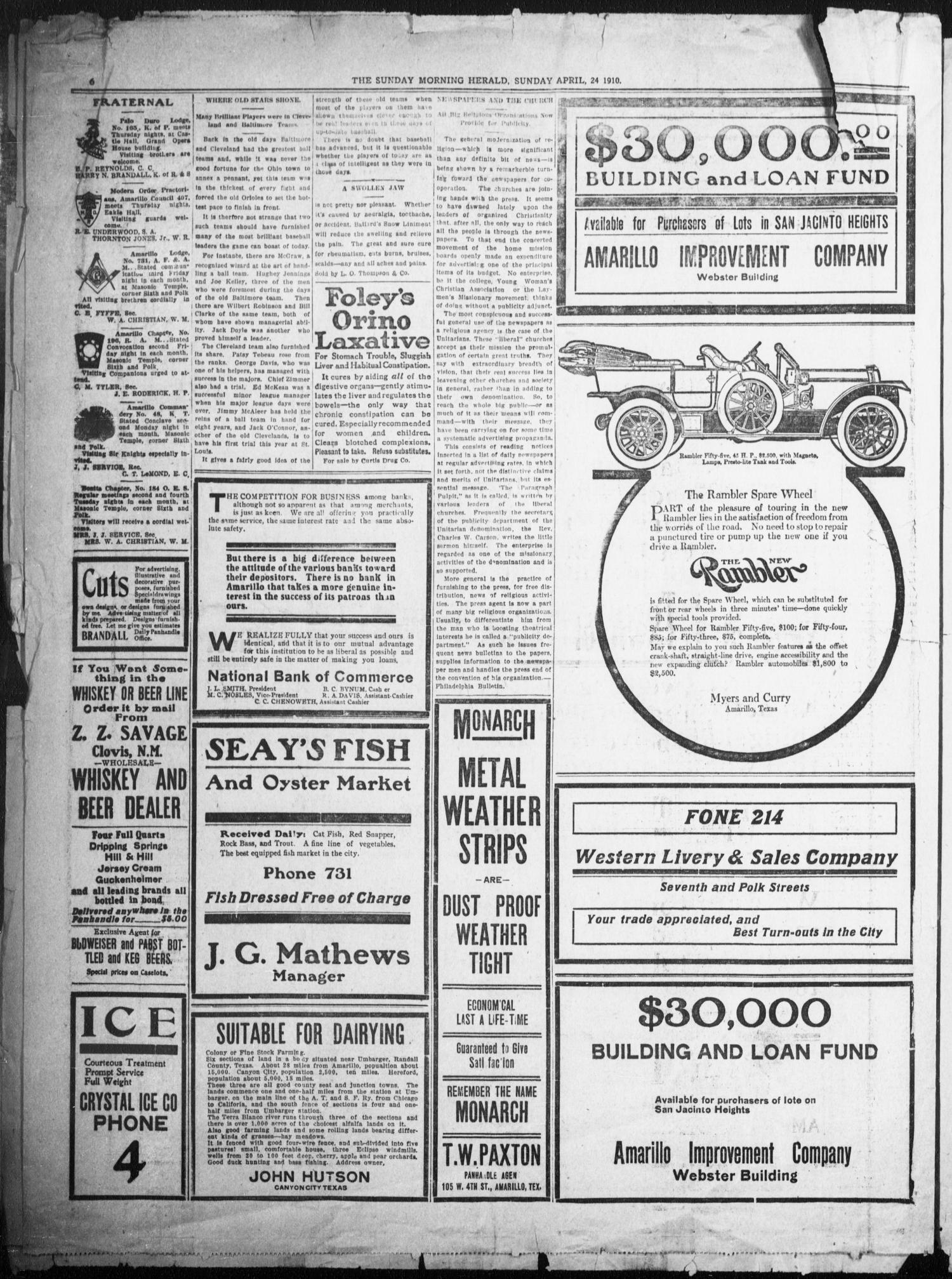 The Sunday Morning Herald. (Amarillo, Tex.), Vol. 22, No. 13, Ed. 1 Sunday, April 24, 1910                                                                                                      [Sequence #]: 6 of 12
