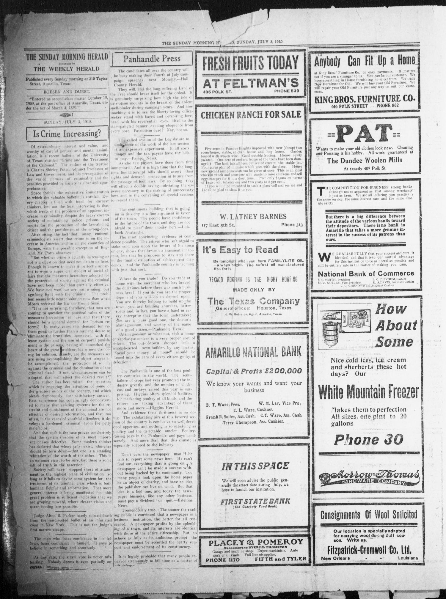 The Sunday Morning Herald  (Amarillo, Tex ), Vol  22, No  23