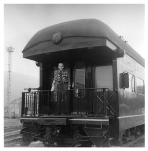 Primary view of object titled '[Burt C. Blanton at the Depot in Erwin, Tennessee]'.