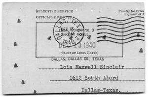 Primary view of object titled 'Selective Service Card'.