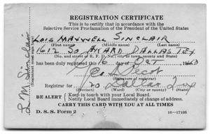 L. M. Sinclair Registration Certificate