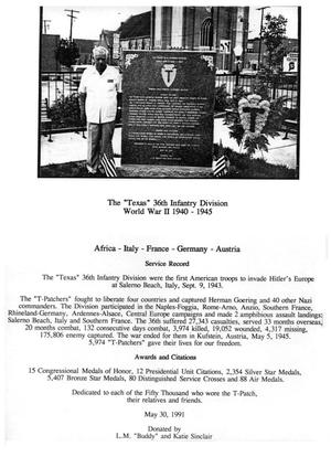 Primary view of object titled 'Texas 36th Infantry Division Memorial'.