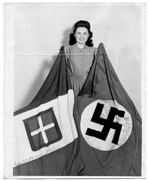 Primary view of object titled 'Katie Sinclair with Flags Italy 1944'.