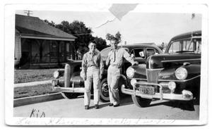Primary view of object titled 'Leon K Lineman and Buddy Sinclair with cars'.