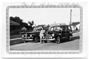 Primary view of object titled 'Buddy Sinclair with 1940 La Salle and Ford Wagon'.