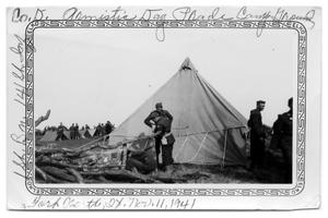 Primary view of object titled 'Soldiers working outside tent Ft. Worth 1941'.
