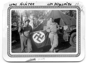 Primary view of object titled 'Two soldiers by jeep 1944'.