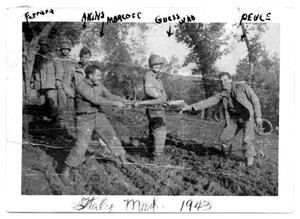 Primary view of object titled 'Six Soldiers playing in mud- Italy 1943'.