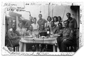 Soldiers at table- France Aug 1944