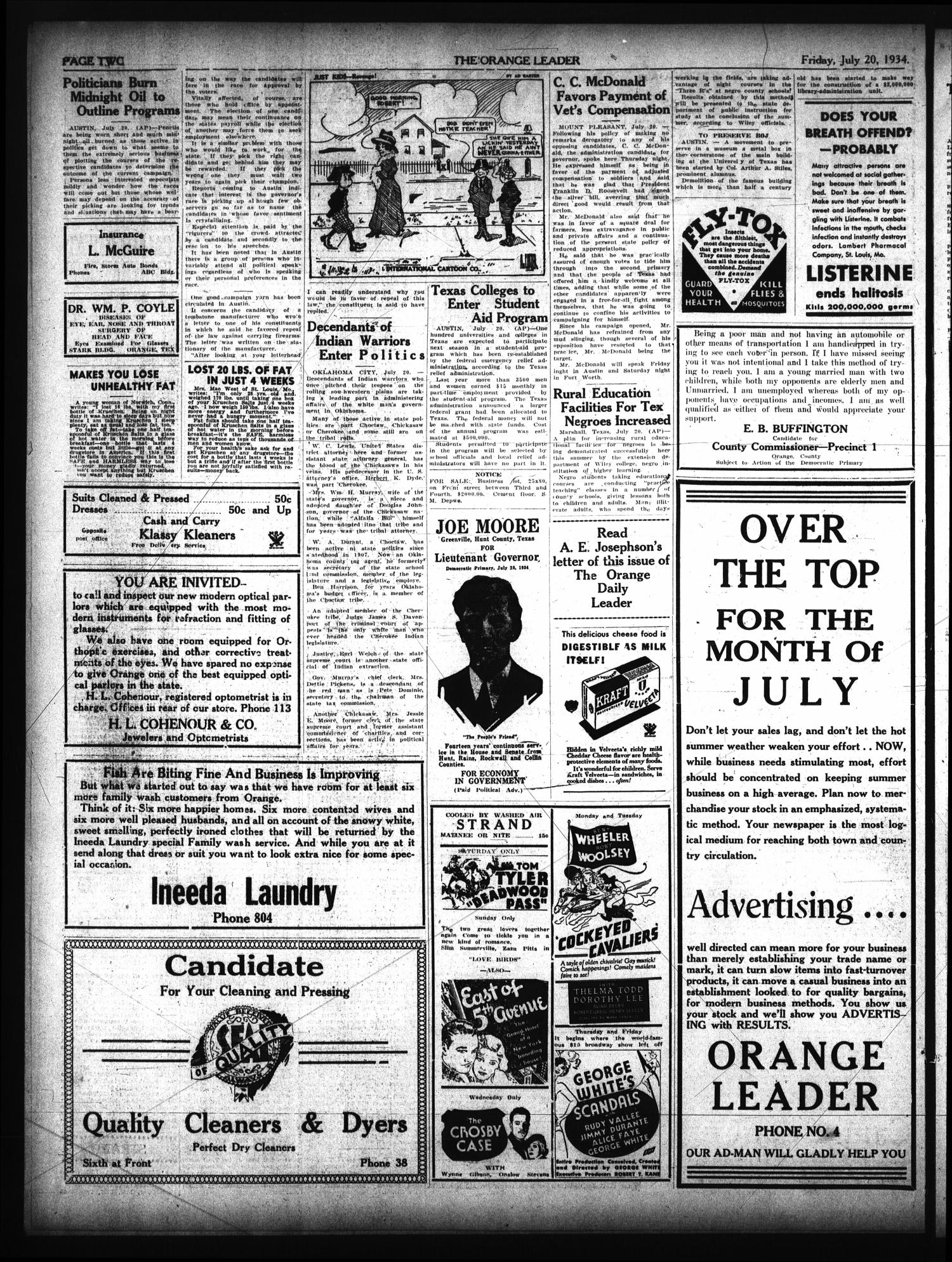 The Orange Leader (Orange, Tex.), Vol. 21, No. 172, Ed. 1 Friday, July 20, 1934                                                                                                      [Sequence #]: 2 of 8