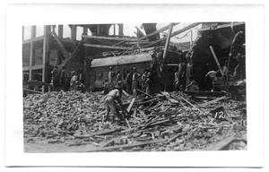 Primary view of object titled '[Photograph of Wreckage at the Electric Light Plant]'.