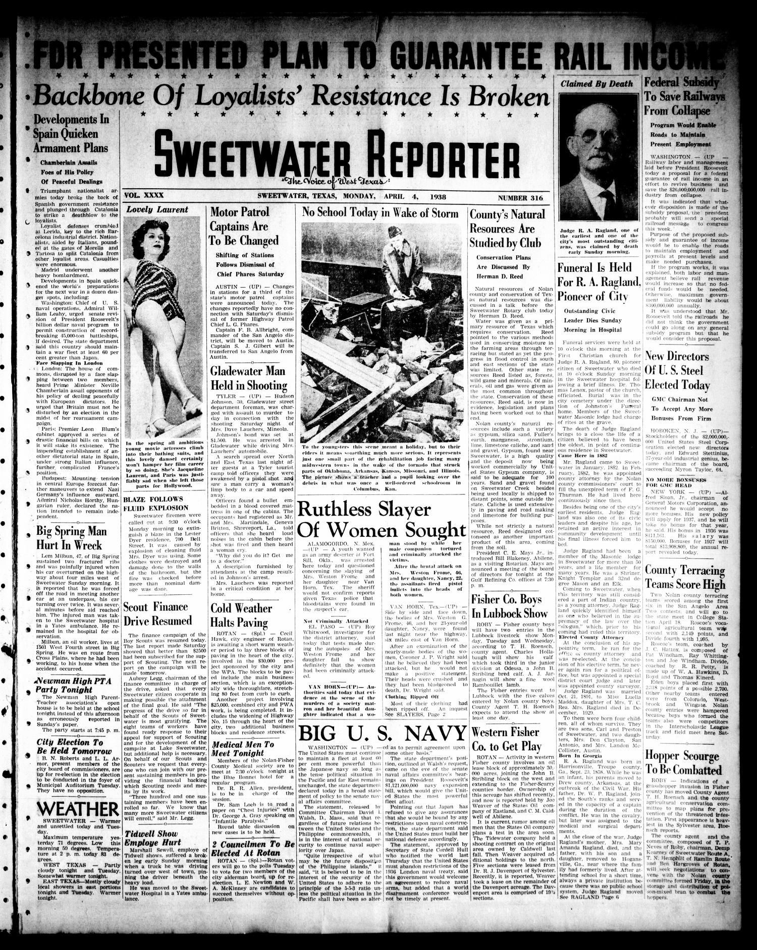 Sweetwater Reporter (Sweetwater, Tex.), Vol. 40, No. 316, Ed. 1 Monday, April 4, 1938                                                                                                      [Sequence #]: 1 of 6